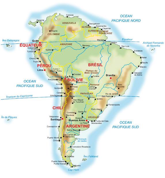 Carte Amerique Du Sud Avec Grandes Villes.Voyager Avec Philippe Guide Chauffeur Francophone En